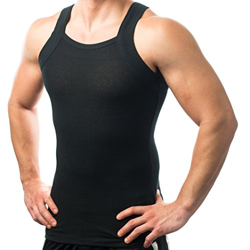 Different Touch Men's G-unit Style Tank Tops Square Cut Muscle Rib A-Shirts - Large - Black, Pack of 2