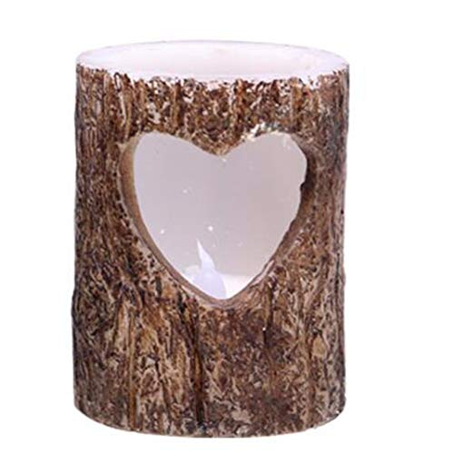 HSTD Flameless Candles, Pillar Birch Effect Real Wax Flickering Moving Wick Electric LED Decorative Candle Sets A