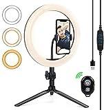 Selfie Ringlicht Ringleuchte Stativ LED Ringlicht für Handy,Tisch Ringleuchte mit Handyhalter und Fernbedienung, 10.2 Zoll für Make-up,Live Ringleuchte