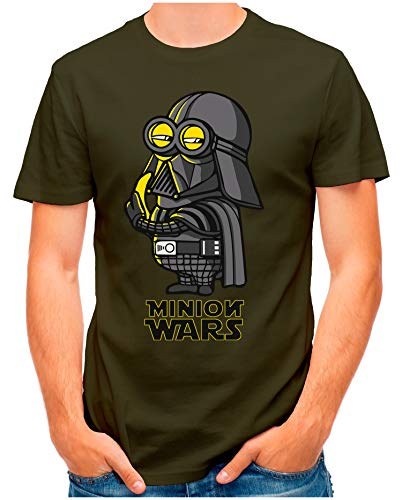 OM3® - Minion-Wars - T-Shirt | Herren | Banana Darth Vader Parody Printshirt | Oliv, XXL