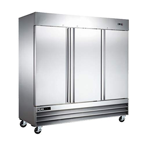PEAK COLD Three Door Reach In Commercial Refrigerator - Stainless Steel; 72 Cubic Ft, 81' W
