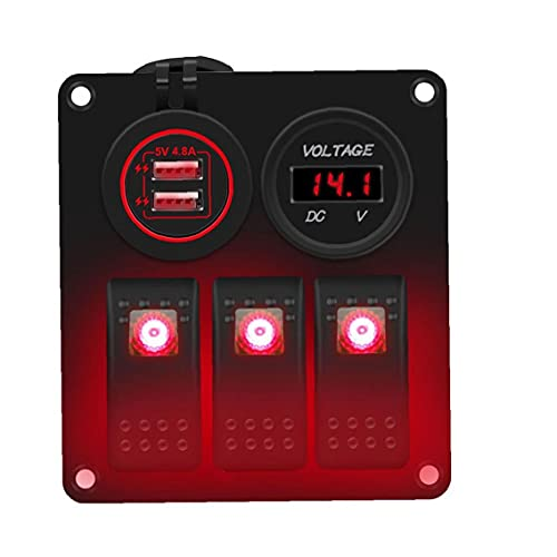 LAANCOO Enchufe de zócalo del Interruptor basculante Panel de 12V 24V LED 3 Banda Dual USB para Remolque de Coches Marina Yate Vehículos Camión Rojo