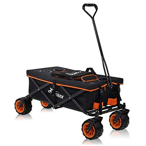 SAMAX Bollerwagen Handwagen Kühltasche Gartenwagen Strandwagen Klappbar Faltbarer Bollerwagen Transportwagen Offroad Cool - Schwarz/Orange