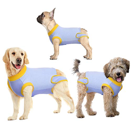 KOESON Dog Recovery Suit, Bandages Cone E-Collar Alternative Professional Protective Shirt for Male Female Dogs & Cats After Surgery, Pet Post Operative Jumpsuit for Abdominal Wounds Stripe M