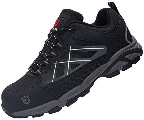 LARNMERN Steel Toe Shoes Men, Safety Work Sneakers Athletic Puncture Proof Footwear Industrial & Construction Shoe(11.5) Dark Gray/Black