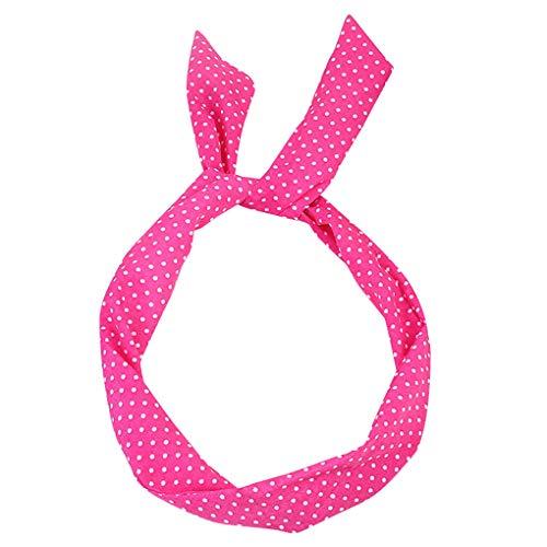 Headband/Dorical Haarbänder Vintage Polka Dots Haarschmuck Stirnband Haarreifen, Rockabilly Accessoires für Damen Mädchen/Fashion Bow Tägliche Kopfbedeckung/Frauentag-haarbänder(Pink)