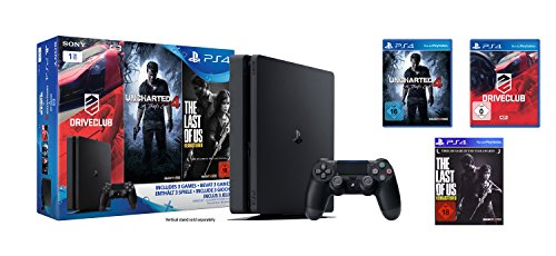 PlayStation 4 - Konsole (1TB, schwarz,slim) inkl. Uncharted 4 + Driveclub + The Last of Us - [Edizione: Germania]