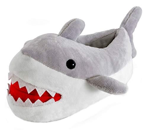 Jungen Mädchen Kinder Neuheit 3D Charakter Plüsch Hausschuhe Hai, Grau - Shark Grey - Größe: 32 EU