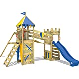 WICKEY Wooden Climbing Frame Smart Fort with Swing Set and Blue Slide, Knight's Playhouse for Children with Sandpit, Climbing Ladder & Play-Accessories
