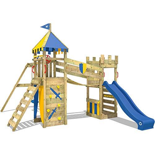 WICKEY Parque infantil de madera Smart Fort con columpio y tobogán azul, Torre de escalada de...