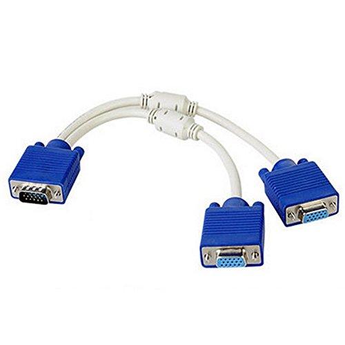 15 Pin VGA Splitter Kabel 1 Mannelijke naar 2 Vrouwelijke Y Adapter Monitor Converter voor PC Video Computer TV Projector (wit)