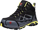LARNMERN Mens Work Safety Boots, Steel Toe Casual Breathable Outdoor Protection Footwear/10/Black/yellow