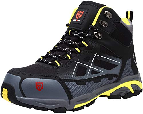 LARNMERN Steel Toe Boots,Mens Work Safety Outdoor Protection Footwear Industrial and Construction Boots (10.5, Black/Yellow)