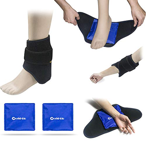 Foot Ankle Ice Pack(2 Packs) for Injuries Foot Ankle Heel Pain Relief, Hot Cold Therapy Wrap & Reusable Gel Pack Perfect for Plantar Fasciitis, Achilles Tendonitis, Sprains, Bruises, Muscle Pain