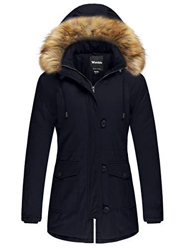 Wantdo Women's Cotton Thicken Padded Parka Winter Jacket Fur Hood Coat(Navy, S)