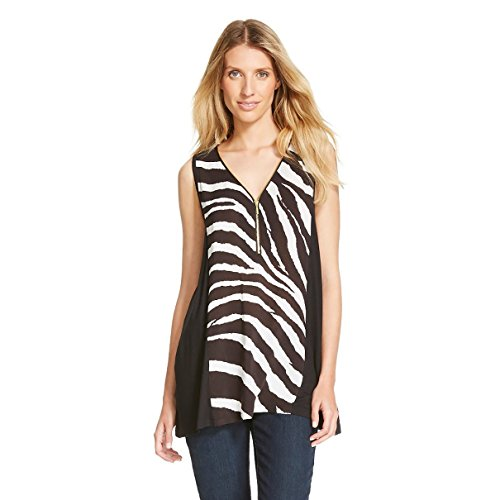 August Silk Printed Zebra Tunic Tank top Black and White with Zipper (Small)