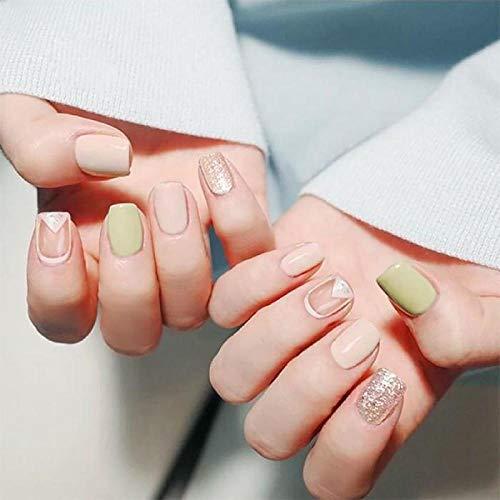 CLOAAE 24pcs Ladies Natural Flat Top Nail Art Tips with Women Glitter False Nail Girls DIY Light Green Summer Fashion Fake Nails