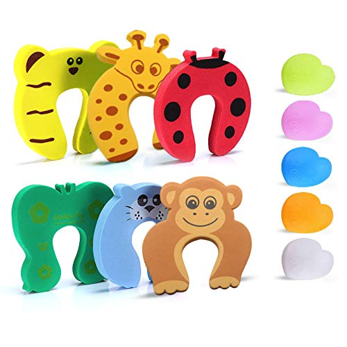 6PCS Finger Pinch Guard+5PCS Colorful Door Stopper Wall Protector, Baby Proofing Doors Made with Soft Foam Cushion Yet Durable,Cartoon Animal Door Stopper, Prevent Finger Pinch Injuries