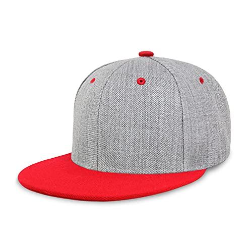 CHOK.LIDS Two Tone Snapback Heather Grey Flat Bill Visor Wool Blend Classic Plain Hats for Men Women Adjustable Baseball Cap (Red, 1)