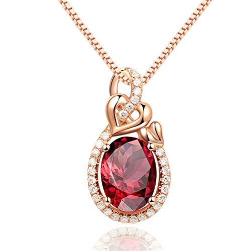 ButiRest Yellow Gold Jewellery Women's 1.42ct Red Garnet Oval Cut with Diamond 18ct 750 Rose Gold Waterdrop Heart Chain Long with Pendant