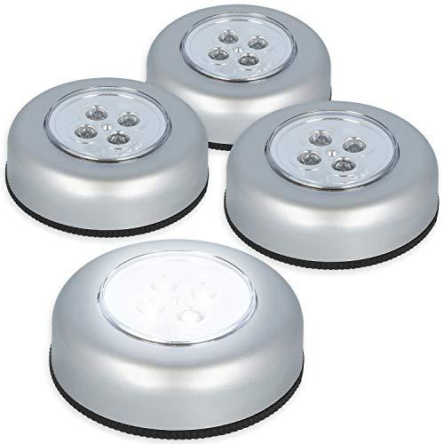 COM-FOUR® 4x LED-druklamp - zelfklevende lamp met 4 LED's - op batterijen werkende LED-lamp met drukschakelaar - perfect voor kasten en keukens (04 stuks - druklamp)