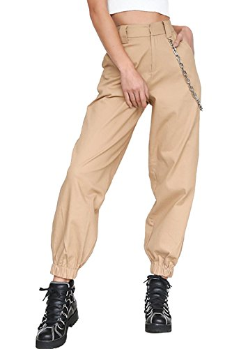 Mujer Pantalones Casual A Cuadros Baggy Hip Hop Pantalón Suelto Deportivo Pantalones de Cargo Deporte