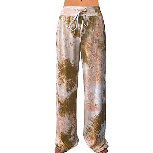 Leggings Fitness No Transparenta,Ropa de Mujer Suelta de Verano, Pantalones de Yoga con Bolsillo Estampado, Pantalones Deportivos de Pierna Ancha-Khaki_L,Alta Pilates Fitness Mujer Gym Yoga Pantalo