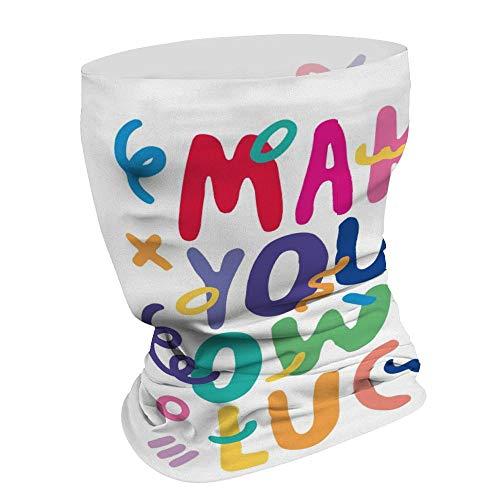 Leuke Kleurrijke Lettering Maak Uw Eigen Geluk Multifunctionele Gezichtsmasker Bandana Neck Gaiter Hoofdband Zon Masker Gezicht Sjaal Balaclava, Voor Outdoor Sports,Voor Vrouwen Mannen