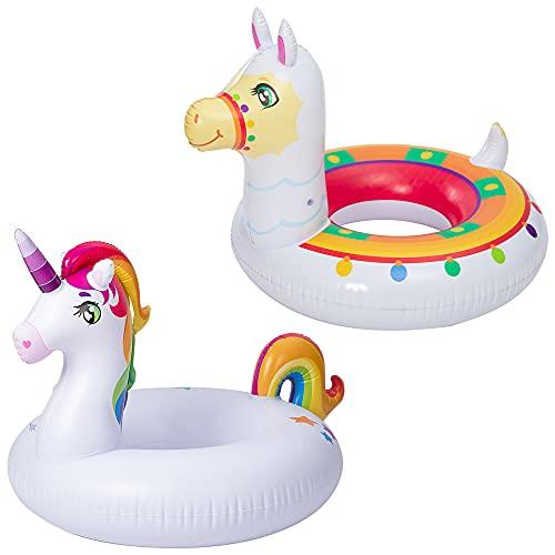 JOYIN Inflatable Unicorn & Llama Inflatable Pool Float (2 Pack), 35.3' Fun...
