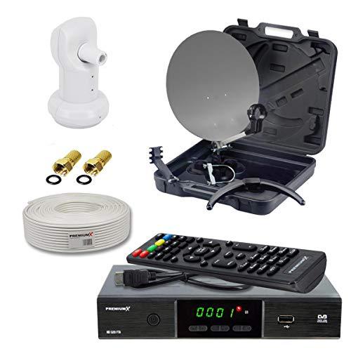 PremiumX Mobile Camping SAT-Anlage Koffer Antenne Single LNB 10m Koaxial Kabel F-Stecker DVB-S2 Satelliten Receiver FullHD