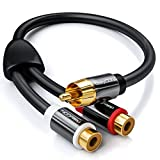 deleyCON 0,2m Audio RCA Y-Adaptador Distribuidor Cable para Subwoofer - AUX 1x Conector RCA Cinch para 2X RCA Cinch Hembra