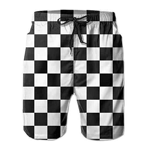 IconSymbol zwart en wit geruit mannen sport strand broek zwemmen broek vrije tijd korte broek ademende strand broek