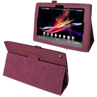 YUCPING Funda De Cuero Textura del Lichí con El Sostenedor For Sony Xperia Tablet Z / 10.1 Funda para teléfono móvil (Color : Purple)