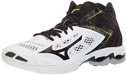 Mizuno Men's Wave Lightning Z5 Mid Volleyball Shoe, whiteblack, 10 D US