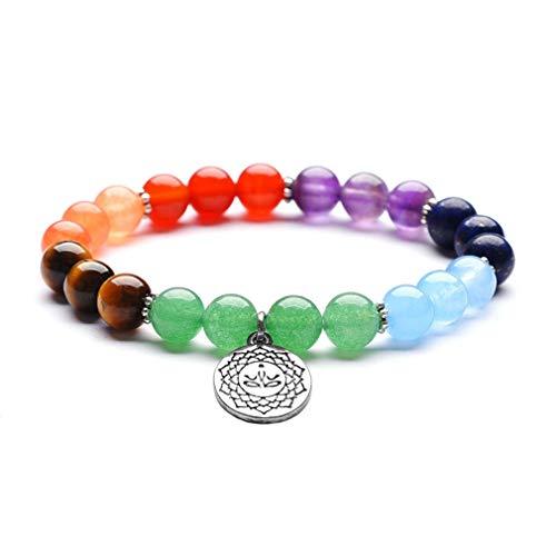 YAZILIND Color energía Piedra Yoga 7 Chakra Pulsera Natural Rojo Piedra Preciosa Budista telo Colgante Pulsera