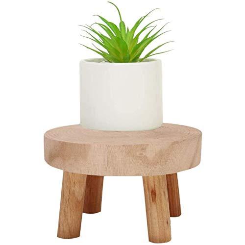 Pequeño soporte de plantas de taburete de madera, Mini soporte de exhibición de taburete de madera, Taburete de madera de decorativos redondos para mostrar pasteles, plantas, velas, decoración,Natural