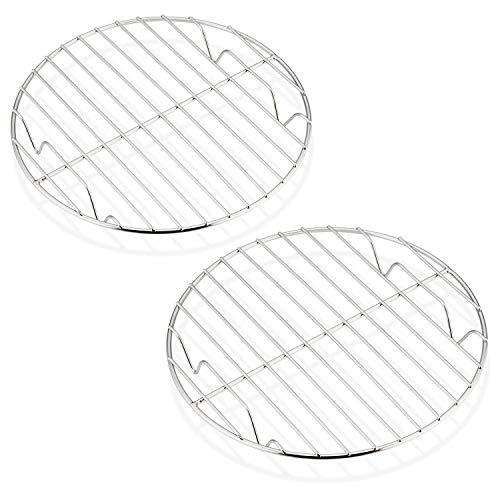 Cooling Rack Set of 2, HaWare 100% Stainless Steel Baking Thick Wire Rack for Cooling/Steaming/Protecting, Fits Air Fryer/Instant Pot/Pressure Cooker/Cake Pan, Oven & Dishwasher Safe (19cm)