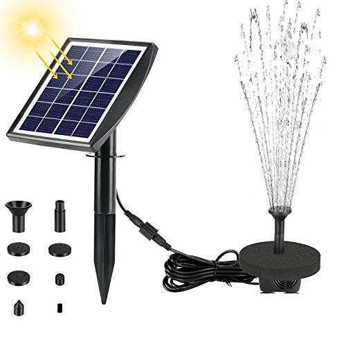 Fostoy Solarpumpe Teichpumpe, Solar Springbrunnenpumpe 2W Panel Mit Erdungsstecker, Solar Wasserpumpe für Vogeltränken, Fischteiche,Gartenteich Springbrunnen