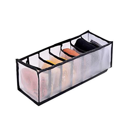 Organizador de armario de dormitorio para calcetines, separación del hogar, caja de almacenamiento de 7 tubos de malla para sujetador, organizador de cajón plegable, color negro, 7 rejillas