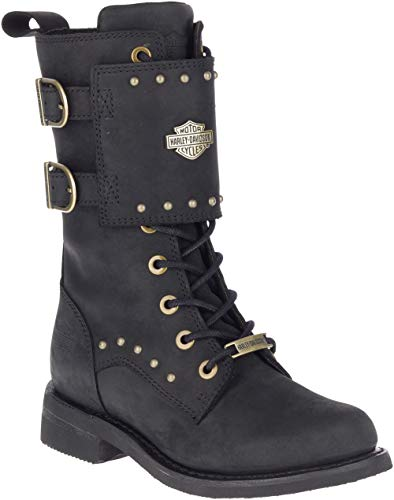 Harley-Davidson Women's Barlyn 8-in Leather Motorcycle Boots, D87195 (Blk, 9)