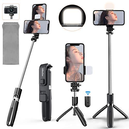 Yibaodan LEDライト付き自撮り棒 Bluetooth セルカ棒 三脚 一脚兼用 【スマホ&カメラ兼用 自撮り補助ライト付き リモコン分離式】 iphone gopro 無線 360°回転 7段階伸縮 多機能 雲台 卓上 自撮り補光/YouTube生放送/ビデオカメラ撮影用 保存袋と日本語説明書付き(iPhone 11 Pro Max/Xs Max/Xs/Xr/X/Se/11/8/8P/7/7P/6S/6, Galaxy S20/10/9/8/7/6, Huawei、Android スマートフォン 等対応) (ブラック)
