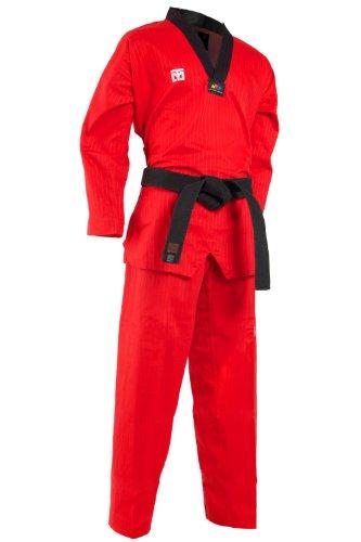MOOTO Corée TaeKwonDo TKD Basic4 Couleurs Dan DoBOk TKD Uniformes Noir, Bleu, Rouge Certifié WTF (Rouge, 150(140-150 cm))