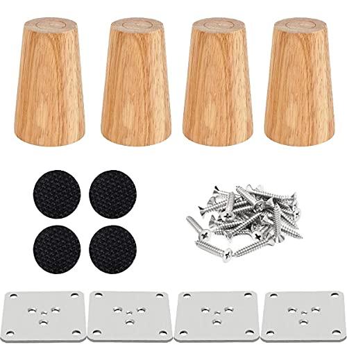 Drenky 4 piezas 8cm patas de madera para muebles patas de mesa de madera maciza cónica patas de sofá Derecho patas de repuesto para muebles con placa de montaje tornillos y protector antideslizante