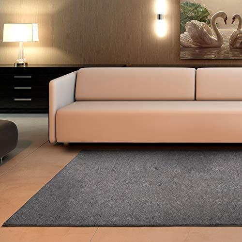 Universal Tapis à Poils Courts Velur Lisse 100 % polypropylène Argenté 57 x 110 cm (62940)