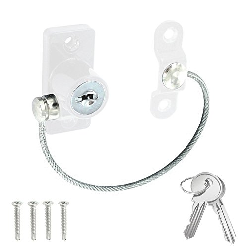 Window & Door Cable Restrictor Lock With Screws Child & Baby Safety Security Wire (White) by Securit