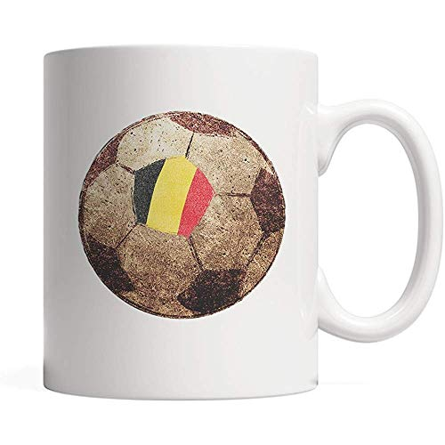 Porseleinen Beker België, Belgisch - Vlag Ontwerp Op Voetbal - Vintage Mok