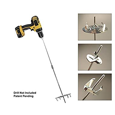 Drill Till, 3 Tools in 1, The Smartest Gardening Tool Kit for Weeding,Tilling and Bulb Planting|Includes Hole Digger, Weeder, Tiller & 2 Extension Rods|for Use with Cordless Drill/Screwdriver