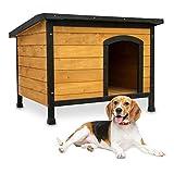zooprinz wetterfeste Hundehütte Rex - aus massivem Holz und Dach zum Öffnen - perfekt für draußen - mit umweltfreundlicher Farbe gestrichen - 3 Größen zur Wahl (Braun, Größe L)