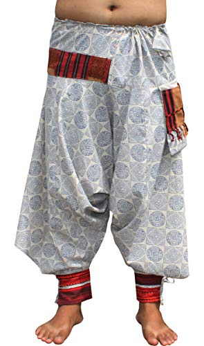 RaanPahMuang Japanese Formal Edo Courtesan Pants with Tied Cuffs and Woven Patches, X-Large, Aum Cotton - Geometry Art - Cream/Blue