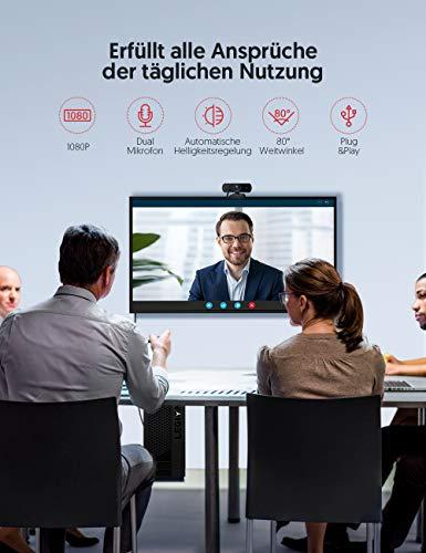 Victure 1080P-Webcam mit Sichtschutz, Streaming-USB-Kamera mit Zwei Stereo-Mikrofonen, Plug-and-Play-Kamera für Aufnahme und Konferenz, kompatibel mit Windows und Mac
